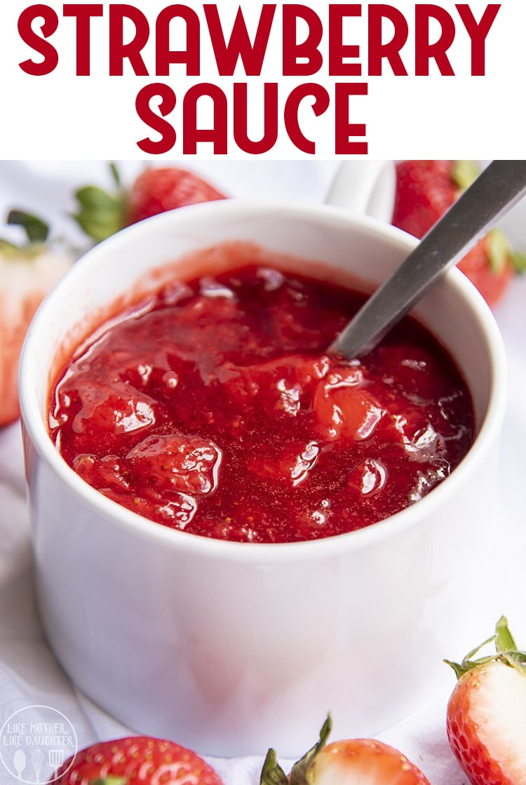 This homemade strawberry sauce is only 3 ingredients, and is the perfect strawberry topping to go on ice cream, cheesecake, pancakes, and more!