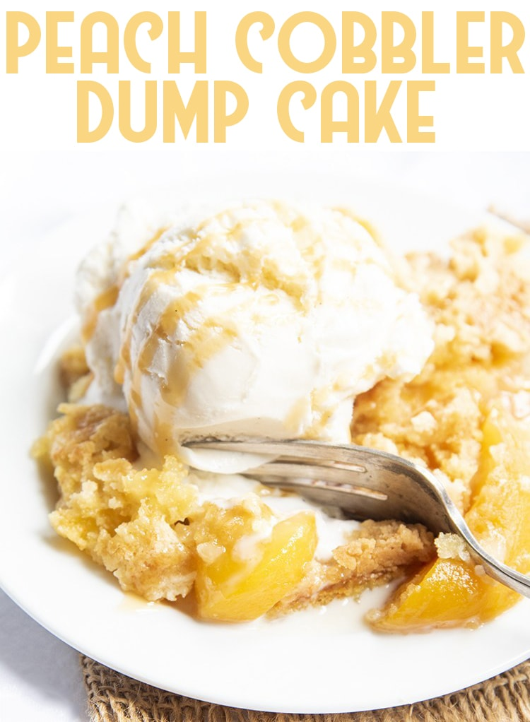 This peach cobbler dump cake is the perfect easy dessert, only three ingredients. It's got the perfect sweet peaches in every bite, topped with a crunchy sweet cake topping. Top it with vanilla ice cream for the perfect warm dessert! #peachcobblerdumpcake #peachdumpcake #dumpcake