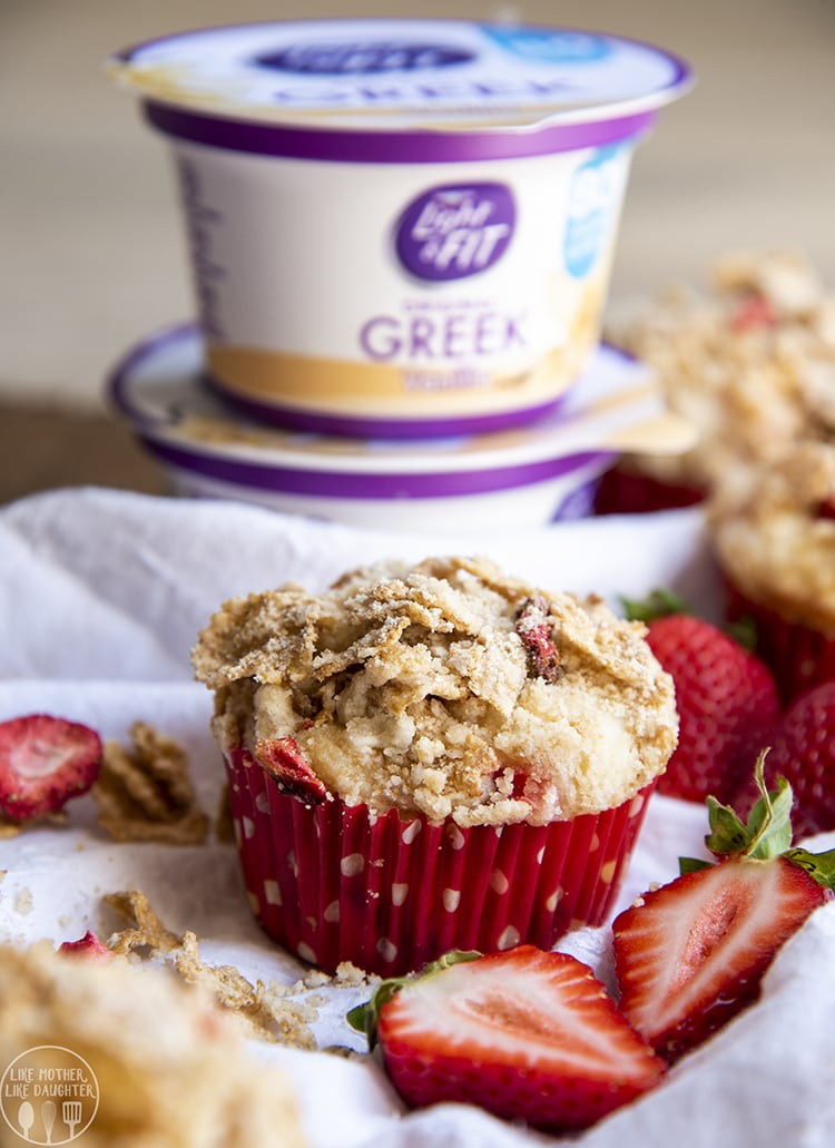 Strawberry Yogurt Muffins are perfect for breakfast or a snack!