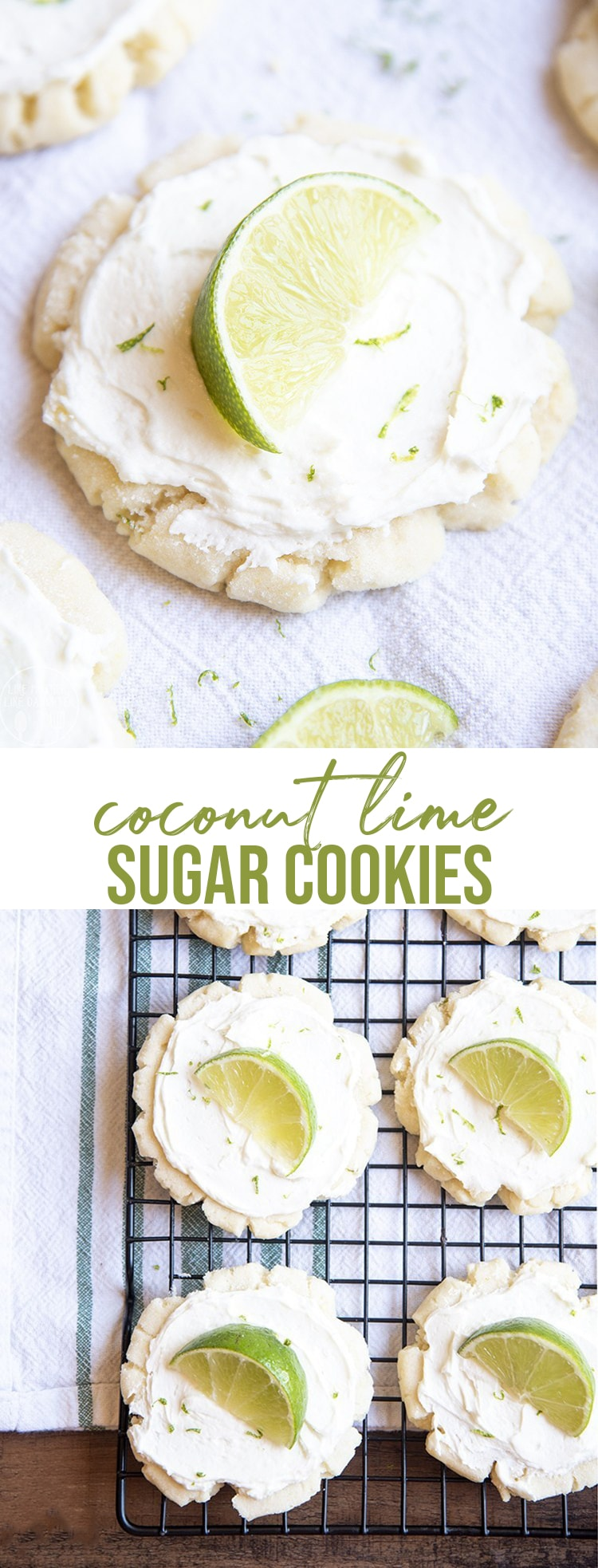 These coconut lime sugar cookies are the best sugar cookies with a refreshing twist. With a sweet sugar cookie, topped with a creamy coconut frosting, and fresh lime to squeeze on top, these cookies are to die for!
