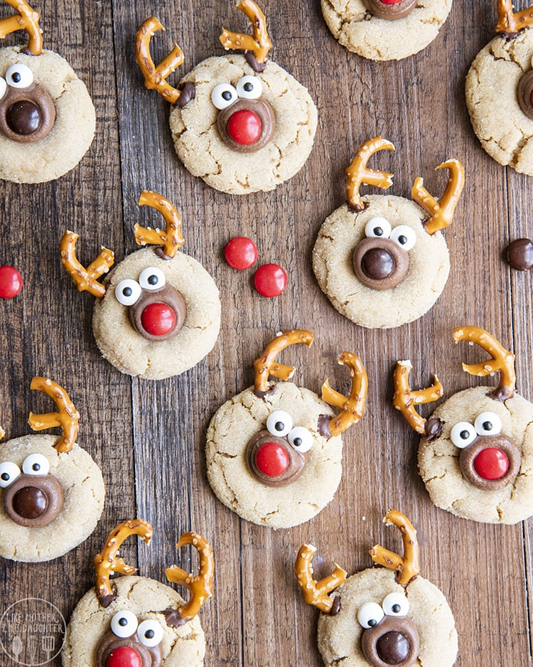 Peanut Butter Blossoms decorated to look like reindeer