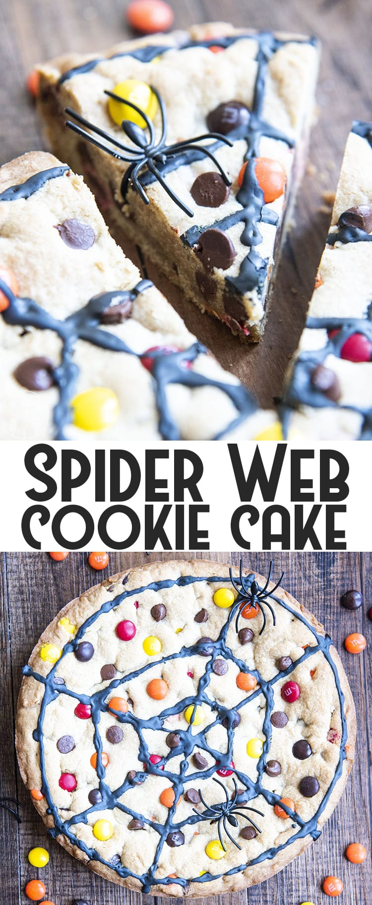 This giant spiderweb cookie cake is the perfect Halloween dessert! It's a giant chocolate chip cookie, decorated to look like a spider web. It's so fun for kids and adults alike!