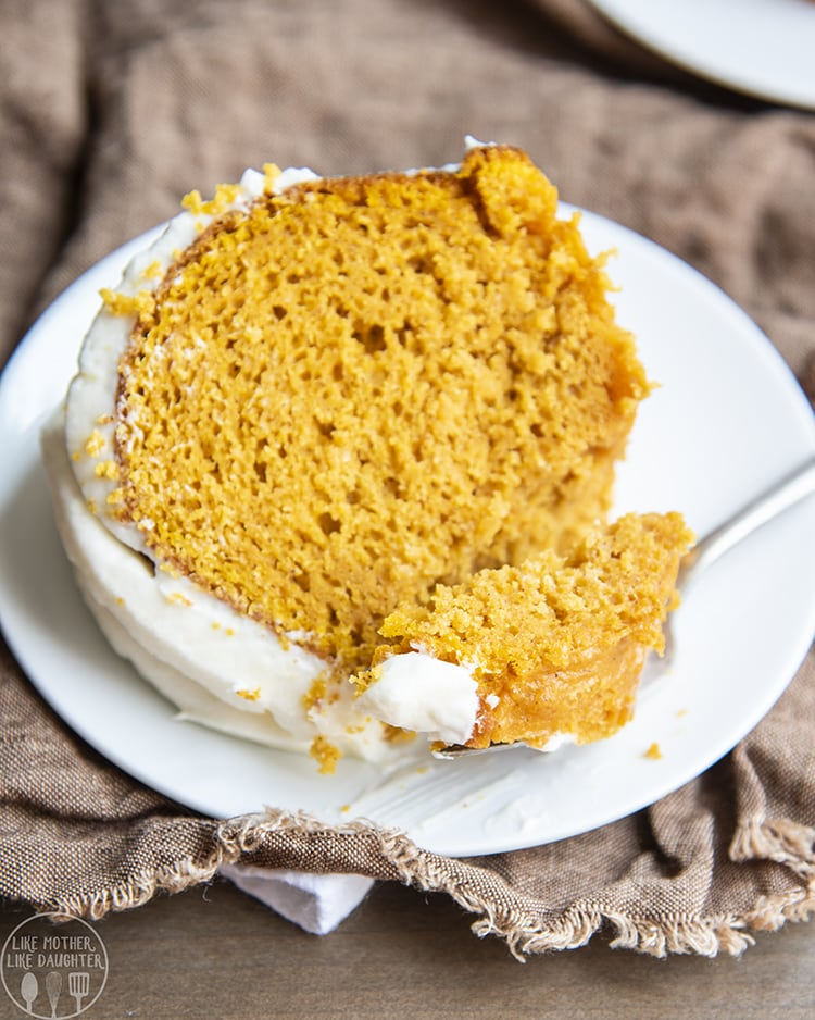 Pumpkin Cake with cream cheese frosting on top
