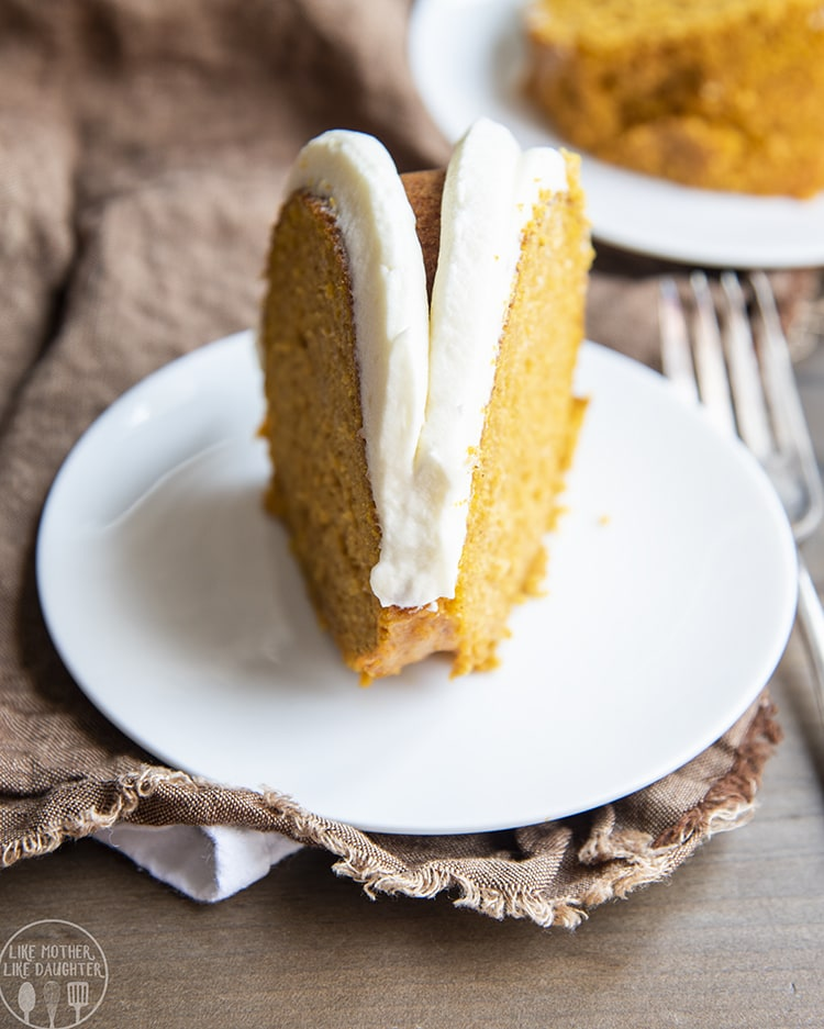 A slice of pumpkin cake made with a cake mix