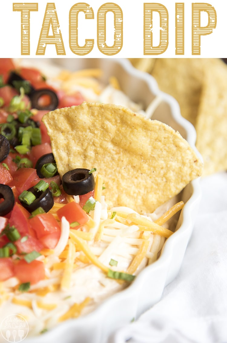 This taco dip is the perfect appetizer to serve at a party! Ready in 10 minutes, and no bake, it's perfect for a crowd! #FootballFood #Appetizer #TacoDip #Tacos #Dip #GameDayFood #EasyRecipe #PartyFood