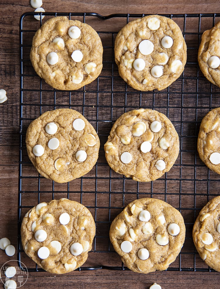 Chewy Pumpkin Cookies with white chocolate chips
