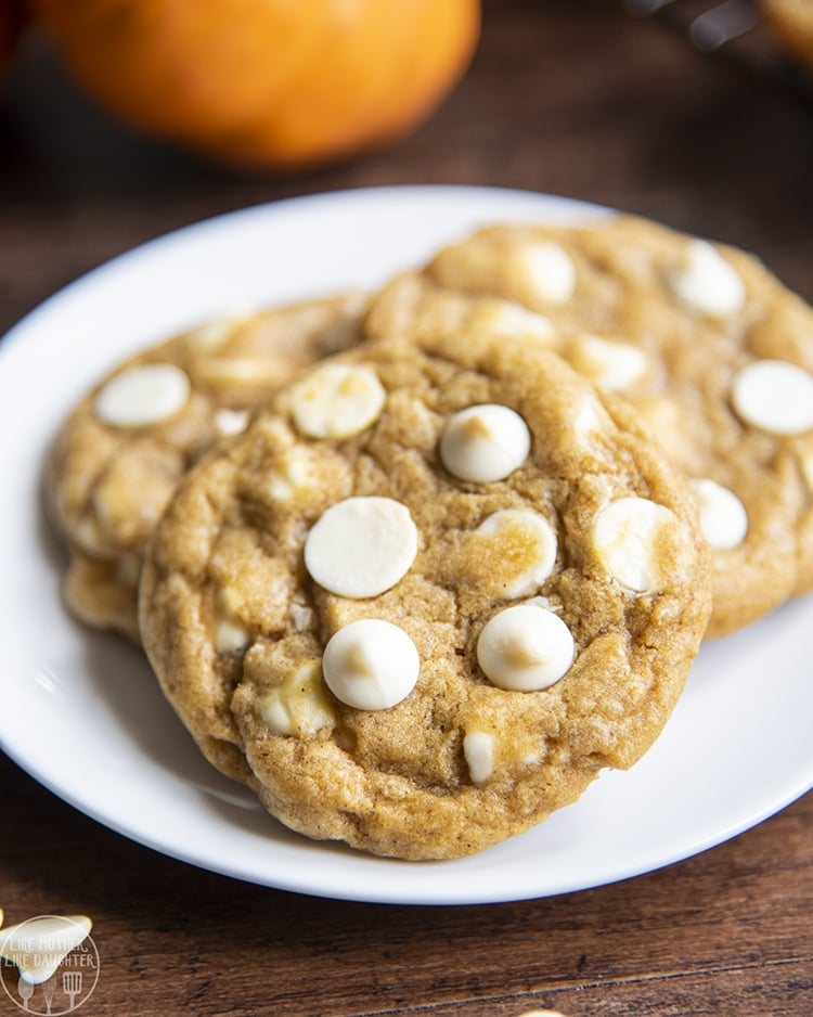 Pumpkin White Chocolate Chip cookies that are chewy, not cakey