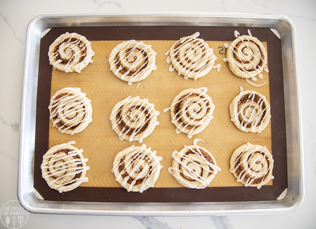 Cinnamon Roll Sugar Cookies with frosting