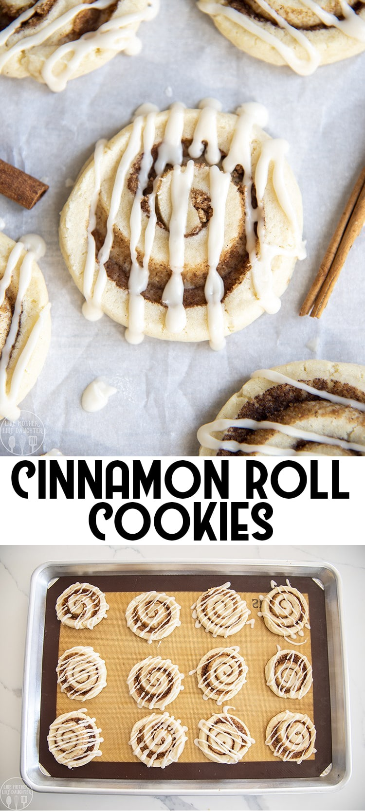 These cinnamon roll are delicious soft sugar cookies, rolled up with cinnamon sugar in the middle just like a cinnamon roll! Drizzled with a vanilla icing they're a perfect cookie!