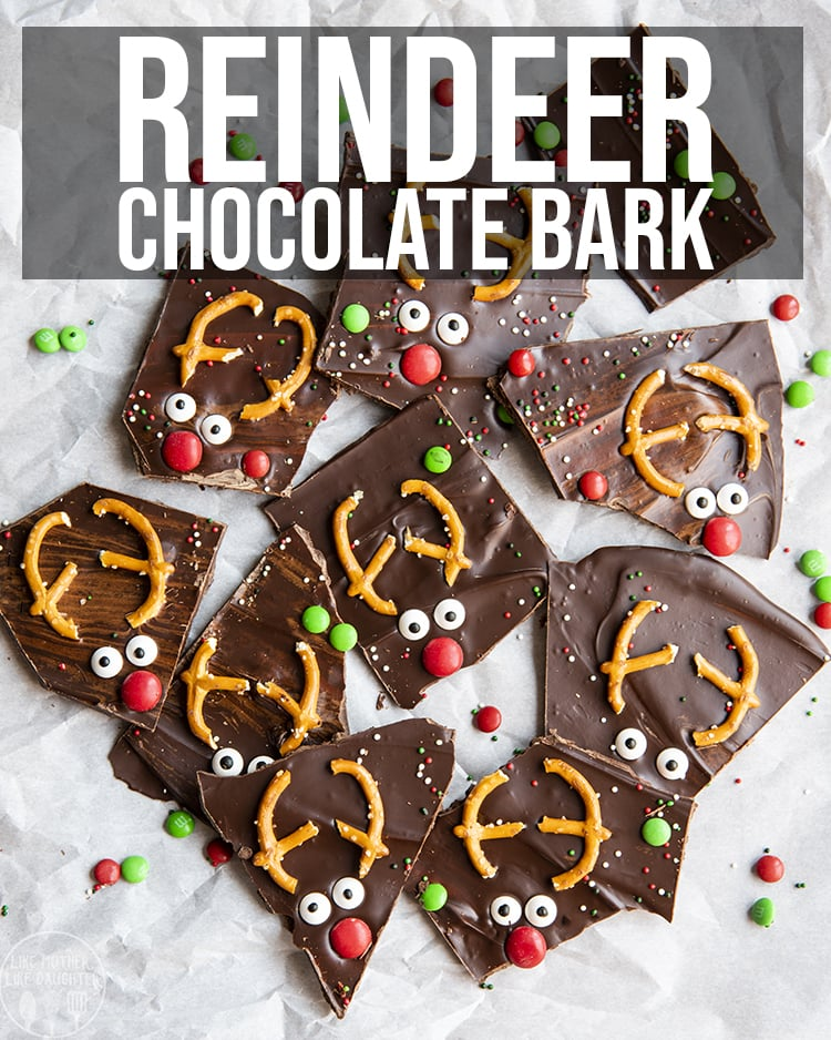 This reindeer bark is an easy homemade chocolate treat, decorated to have little reindeer faces, for the perfect crunchy, sweet and salty Christmas treat.