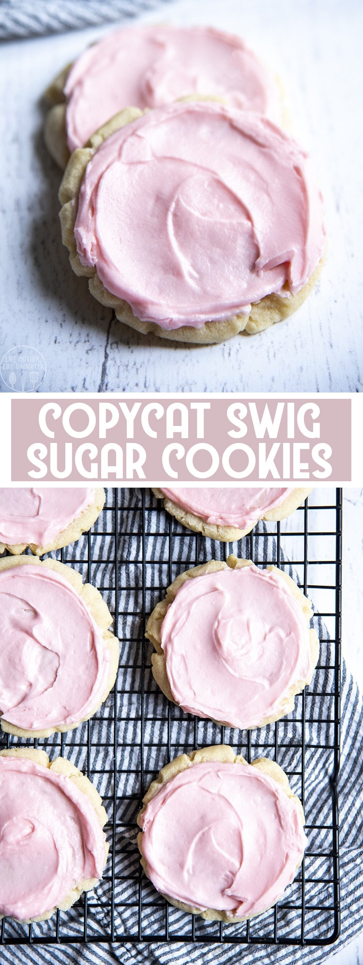 These copycat swig sugar cookies are a delicious soft and buttery sugar cookie, that is somewhere between a sugar cookie and a shortbread cookie, topped with a delicious sweet pink buttery frosting