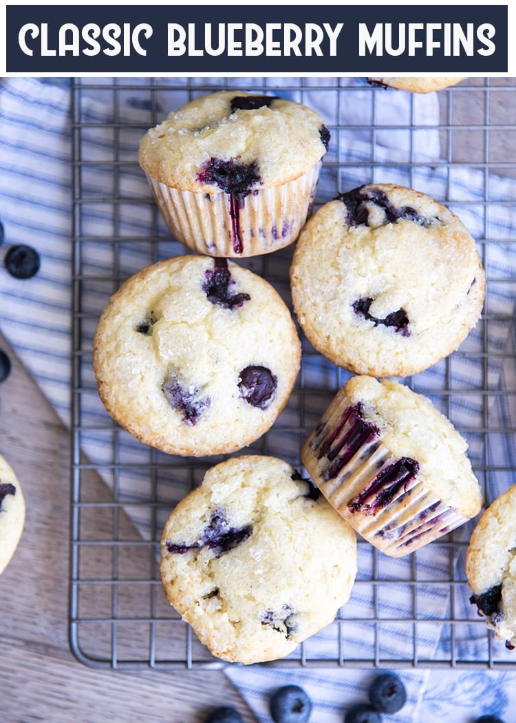 These classic blueberry muffins, are moist and delicious, they are bursting with blueberries, with a perfect buttery soft crumb, and topped with crunchy sugary tops. These muffins are perfect for breakfast or a snack.