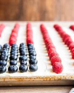 A white cake with blueberries and raspberries making a flag cake