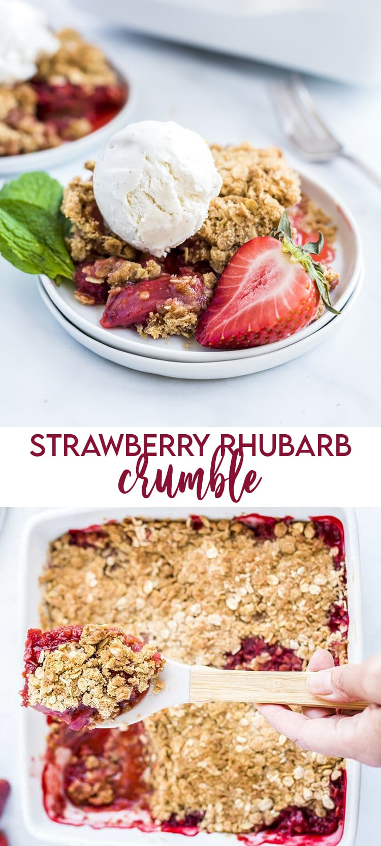 Strawberry Rhubarb Crumble topped with ice cream with text overlay for pinterest