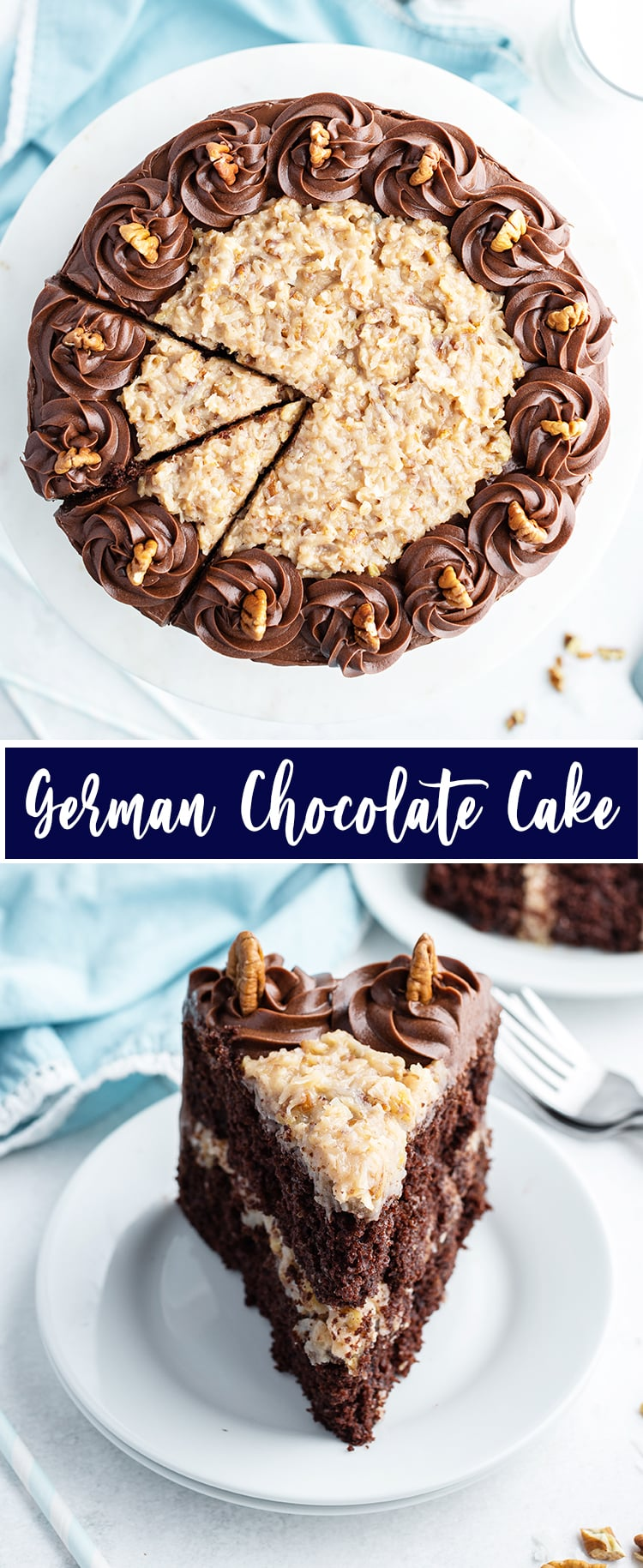 A collage of two photos of German Chocolate Cake. The first photo is the cake from above with coconut pecan frosting and chocolate buttercream. The second photo is a slice of German Chocolate cake on a plate.
