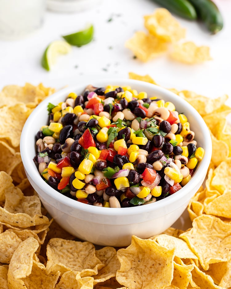 Texas Caviar with beans and corn in a bowl.