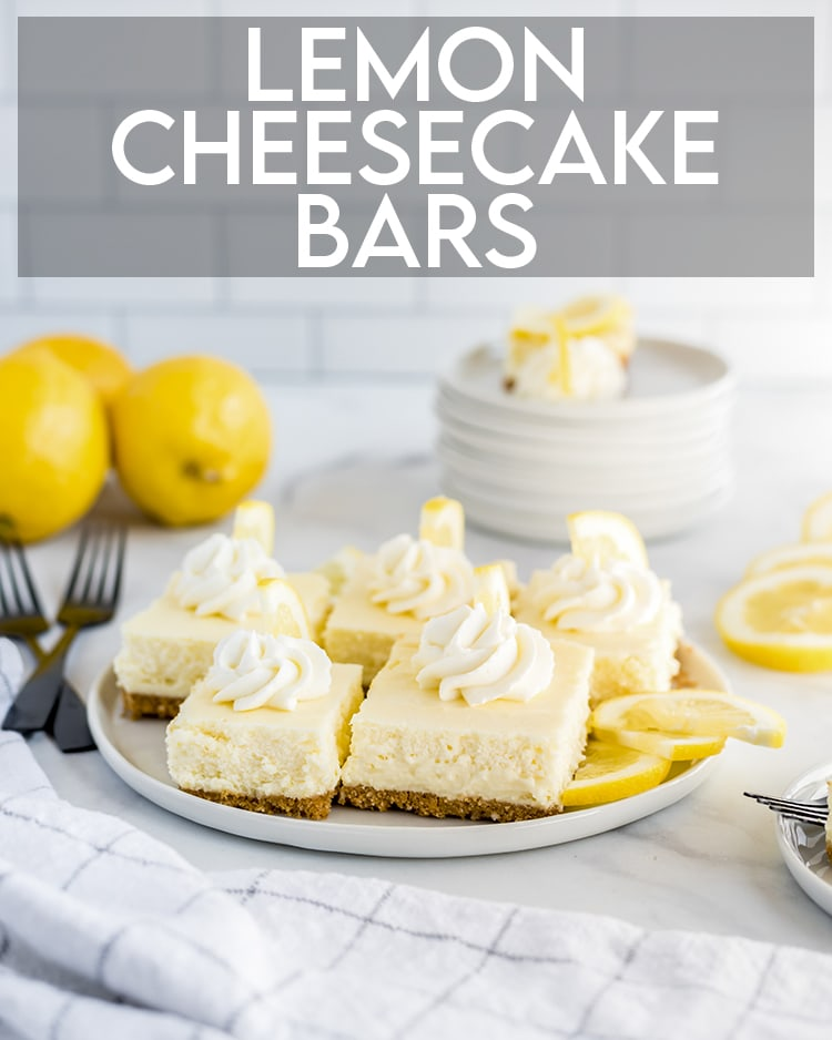Lemon Cheesecake Bars with text overlay for pinterest