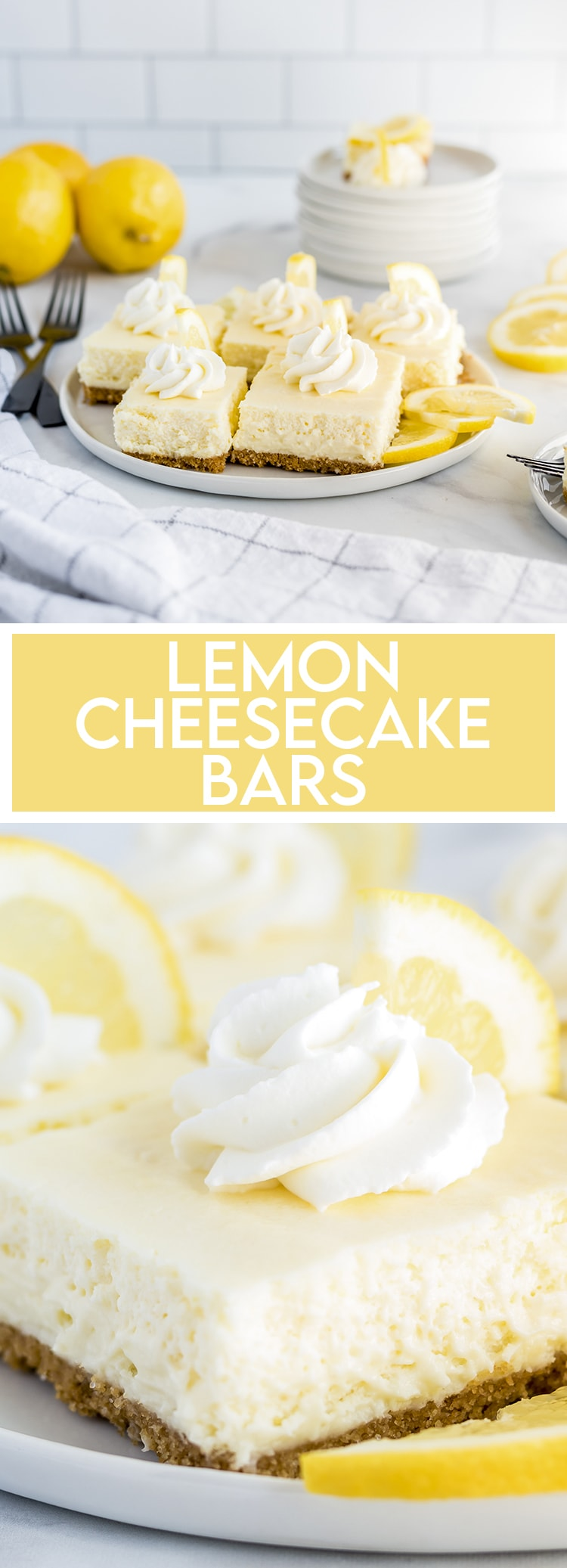 Lemon Cheesecake Bars on a white plate with text overlay for pinterest