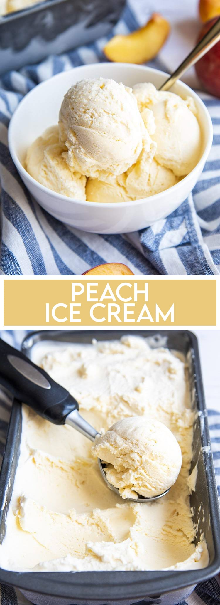 A collage of two photos of peach ice cream. The first photo is the ice cream in a white bowl. The second is a pan of peach ice cream with a scoop taken out.