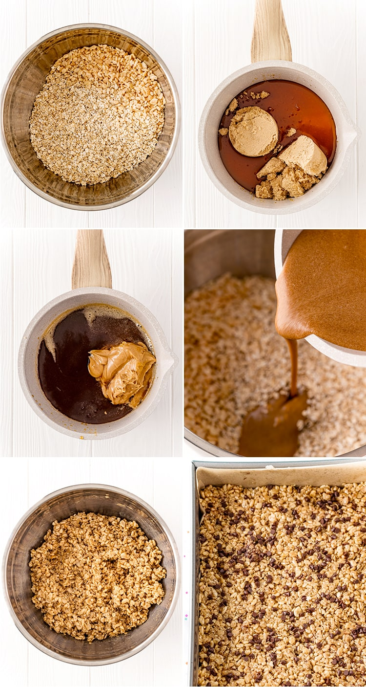 6 step by step photos how to make peanut butter chocolate chip granola bars