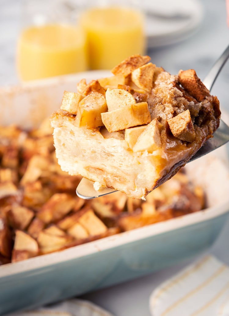 Baked apple french toast on a spatula