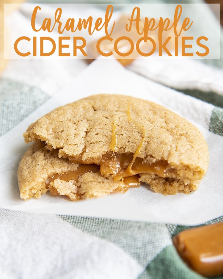 A caramel apple cider cookie broken in half and stacked on top of itself to show the caramel with a text overlay made for pinterest