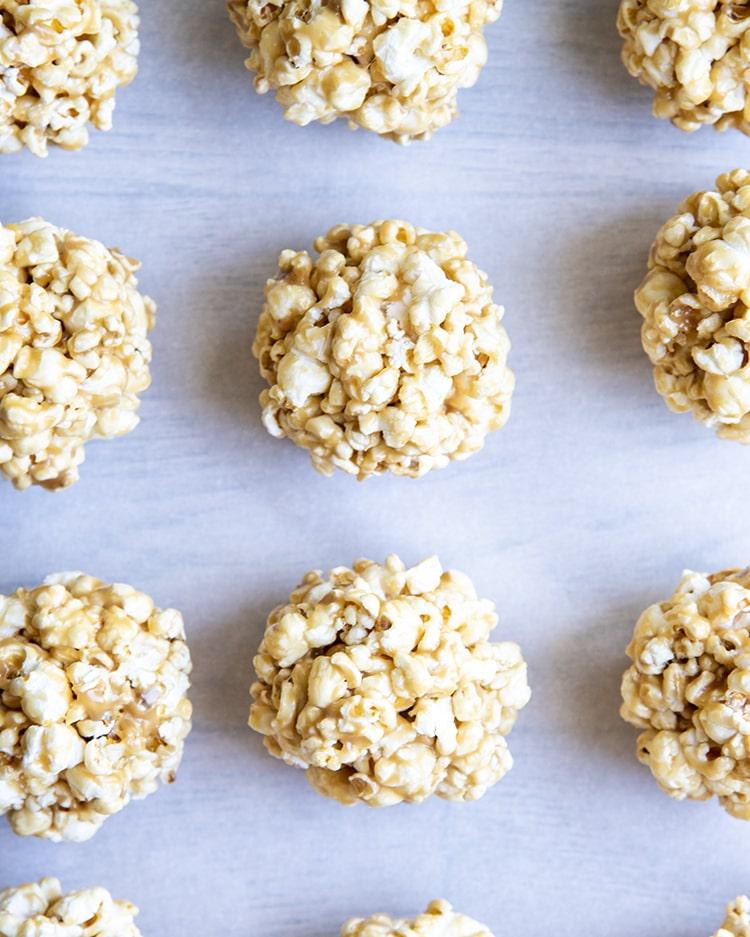 Rows of popcorn balls