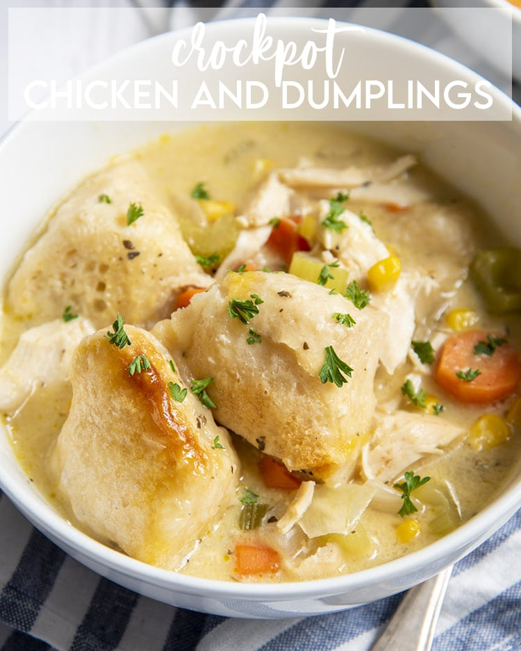 A bowl of chicken and dumplings with vegetables and sprinkled with parsley with a text overlay made for pinterest.