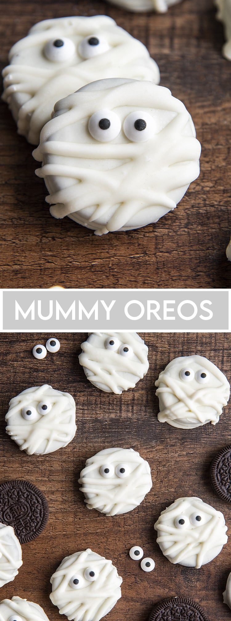 A collage of two photos of Oreos dipped in white chocolate and decorated to look like mummies.