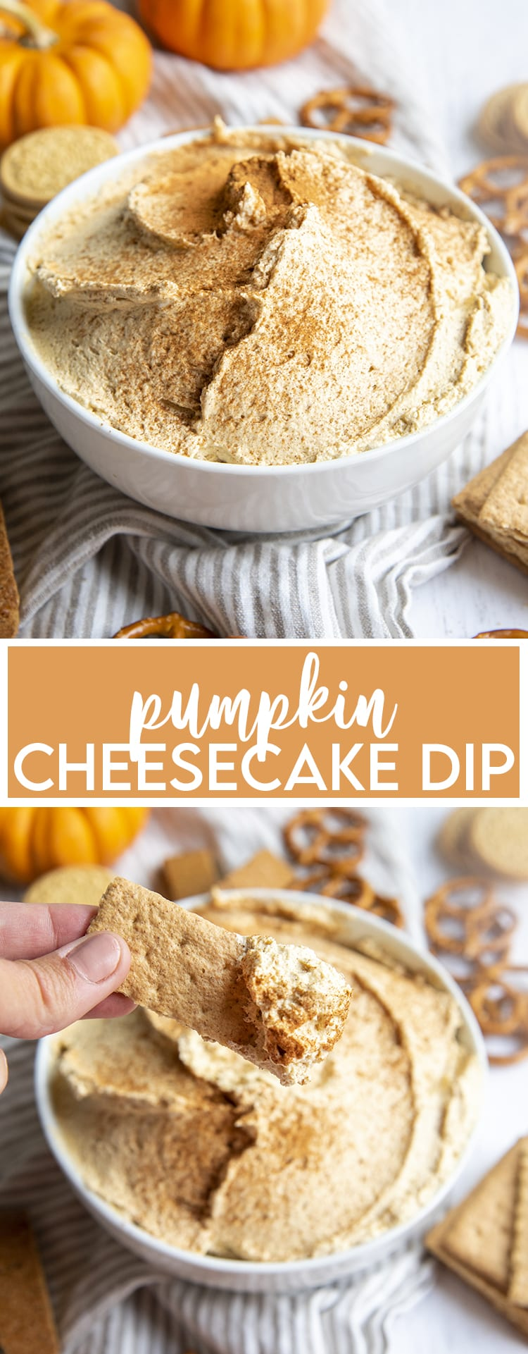 A collage of two photos of pumpkin cheesecake dip with text in the middle for pinterest.
