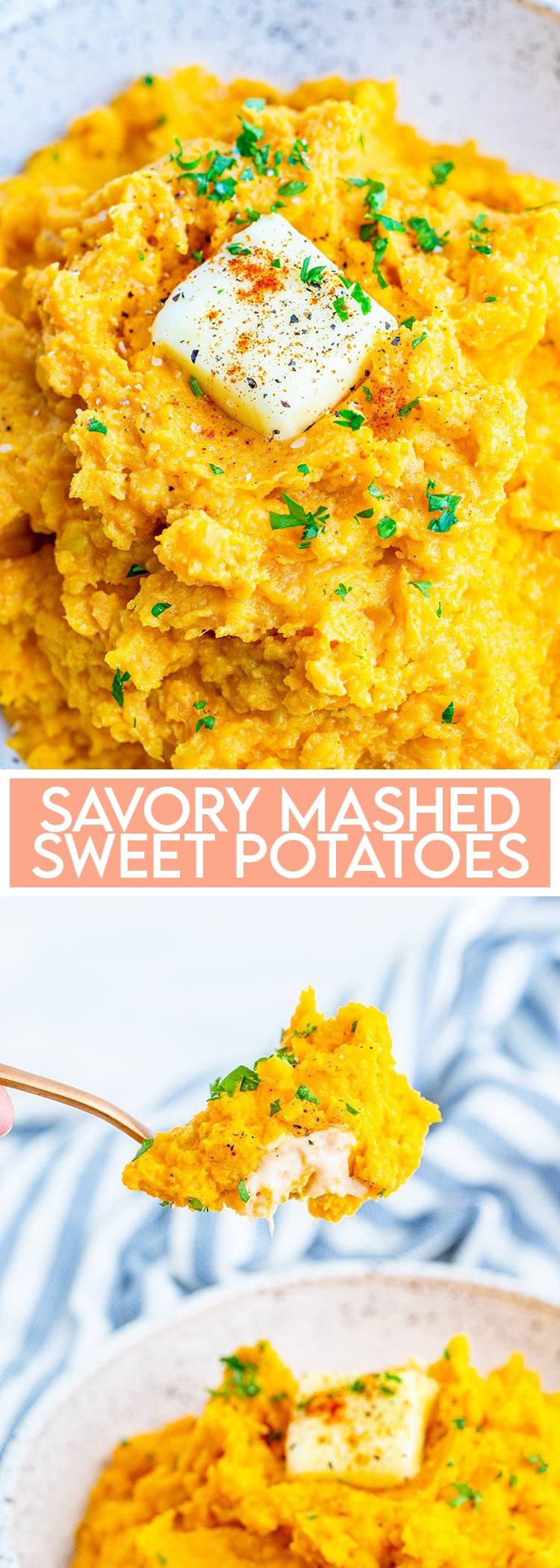 A collage of two photos of mashed sweet potatoes. The first is a close up of the sweet potatoes with a pat of butter on top. The second is a spoonful of sweet potatoes coming out of the bowl.