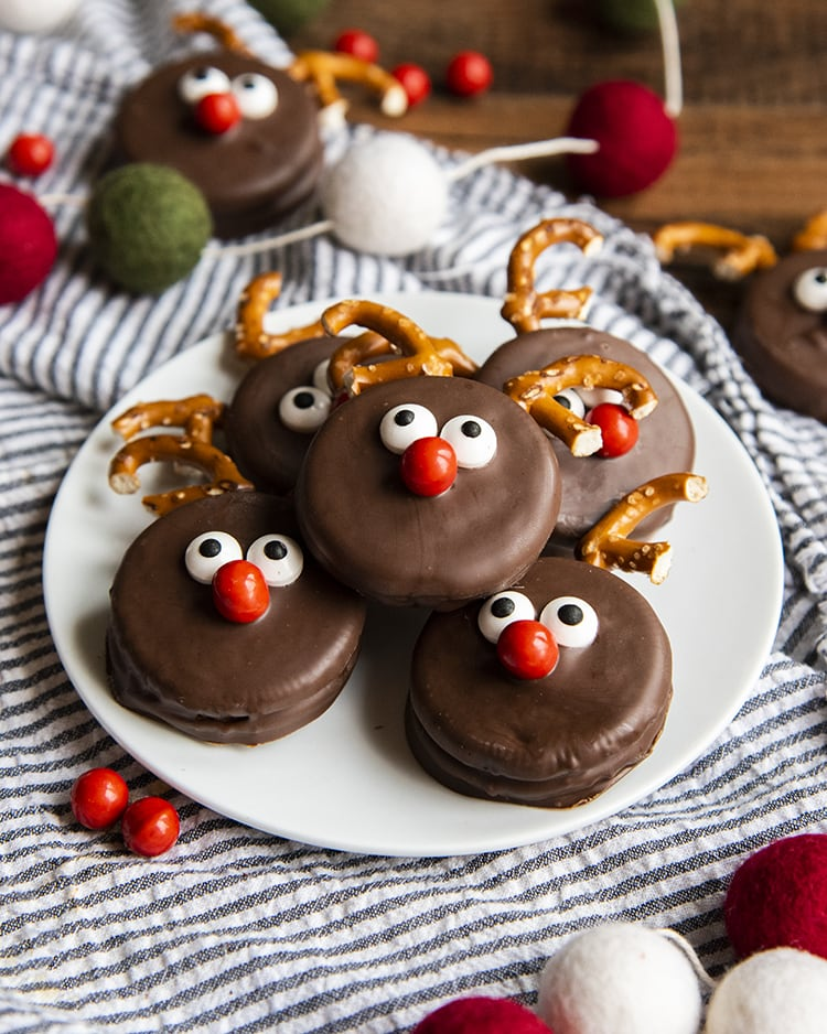 A plate of chocolate Oreo Reindeer