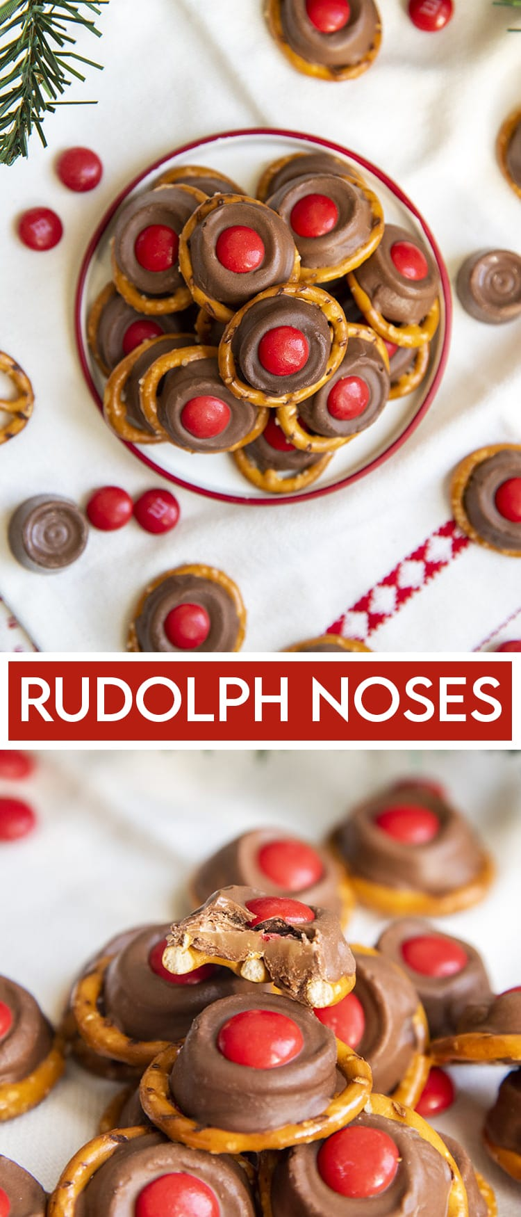 """A small plate full of """"rudolph noses"""" treats. Which are round pretzels topped with a slightly melted rolo, and a red m&m on top with a text overlay for pinterest. Followed by a close up of one of the rudolph noses bit in half to show the caramel in the middle."""