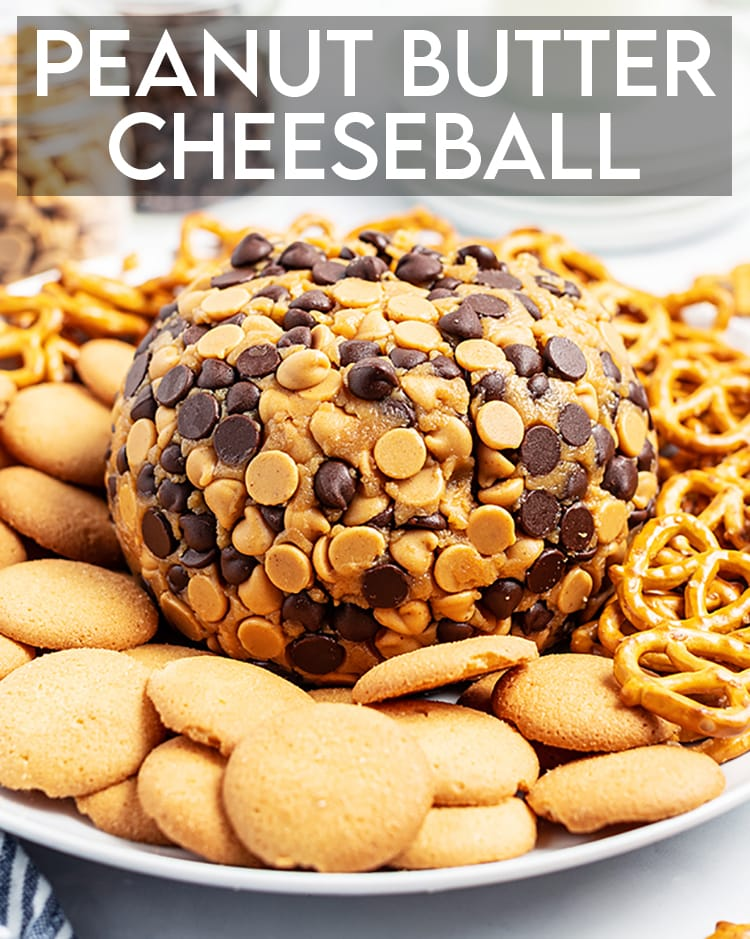 "A peanut butter cheese ball wrapped in chocolate chips and peanut butter chips on a plate with pretzels and cookies, there is a text overlay at the top that says ""Peanut Butter Cheeseball"""