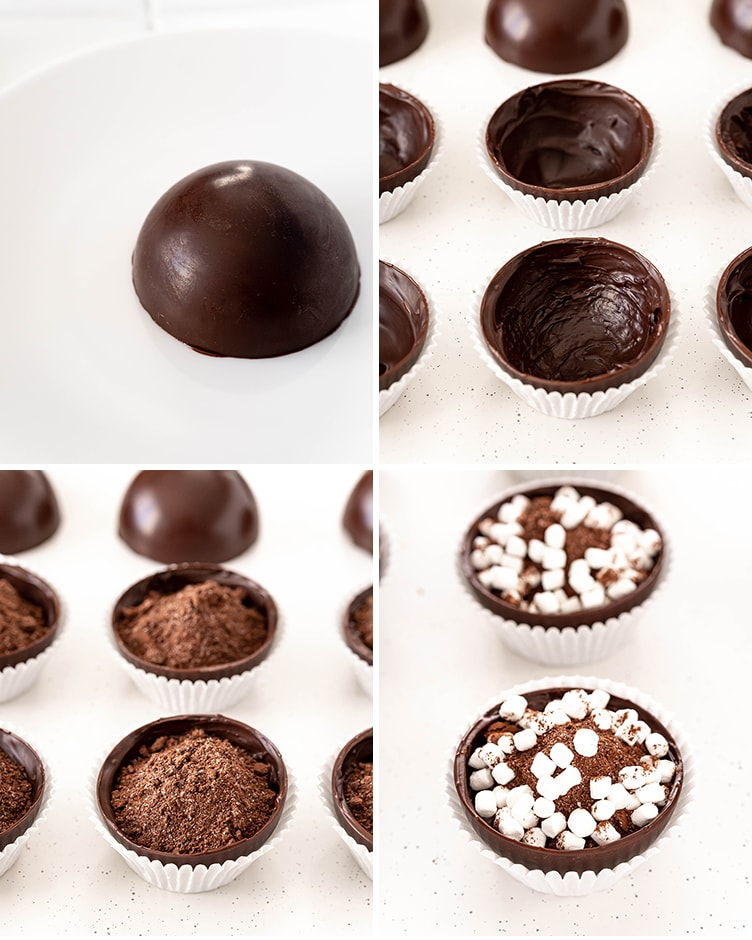 A collage of photos showing how to fill hot chocolate bombs. The first is a half dome on a plate. The second is domes in cupcake liners. The third is filled with cocoa mix. The fourth is filled with mini marshmallows.