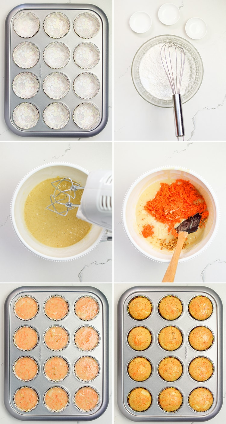 Six step by step photos showing how to make carrot cake cupcakes, showing the ingredients mixed in a bowl, the cupcakes in cupcake liners, and baked.
