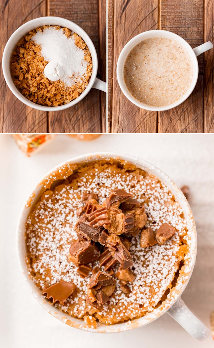 Step by step photos showing how to make a nutter butter mug cake, the first photo is the nutter butter crumbs, with sugar and baking powder, the second is with milk mixed in. The last photo is an overhead shot of the finished mug cake.
