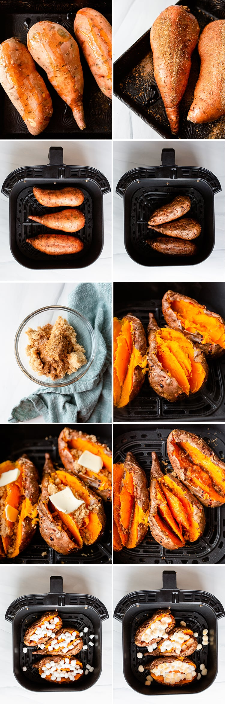 Step by step photos showing how to make twice baked sweet potatoes in the air fryer.