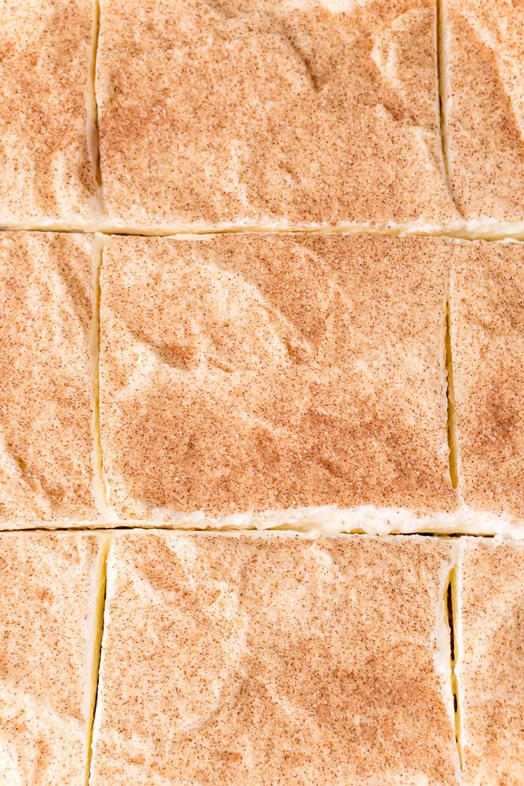 An overhead shot of tres leches cake, just showing the whipped cream and cinnamon sugar, cut into pieces.