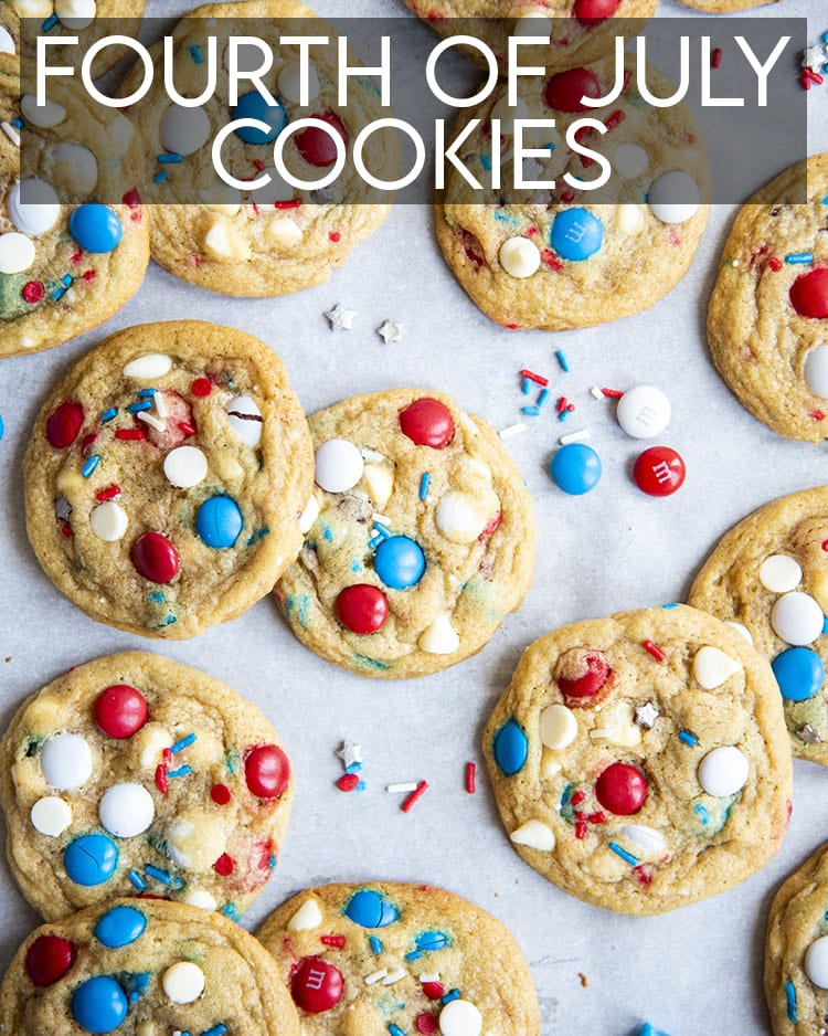 Red, White, and Blue Cookies with red, white, and blue m&ms and white chocolate chips, and sprinkles, with text overlay for pinterest.
