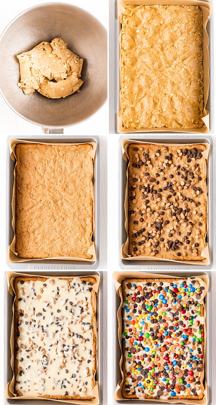Six step by step photos showing how to make monster cookie magic bars.
