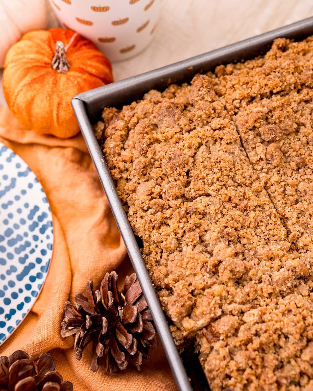 Pumpkin coffee cake in a pan.