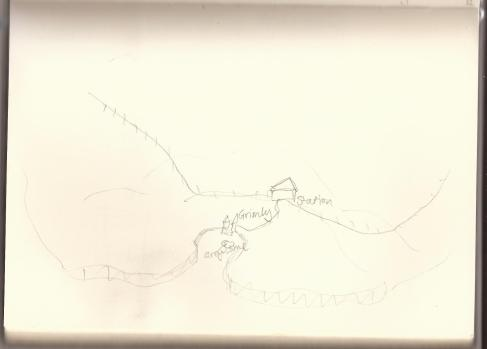 My rough map of the Grimly area, with the station, railway line, village, bay and Greythorne Manor (island).