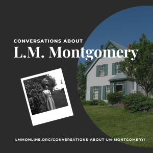 Two images against a black background: one of Green Gables House in Cavendish, PE, and one of L.M. Montgomery, in her thirties, posing outside.