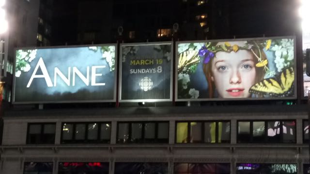 Anne of Dundas Square, an ad found in Toronto on 6 March 2017.