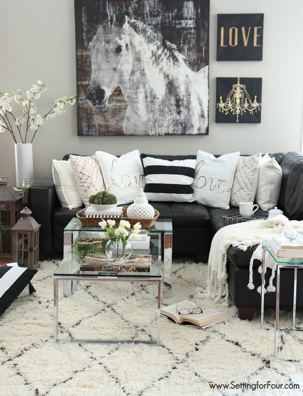 14 Relaxing Living Room Ideas With Black And White 22