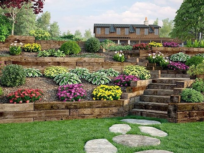 16 Delicate Garden Landscaping Design Ideas Using Rocks Stone 26