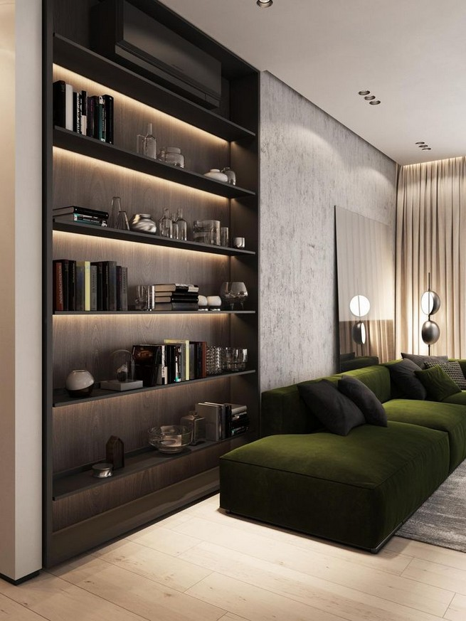 16 Elegant Living Room Shelves Decorations Ideas 08
