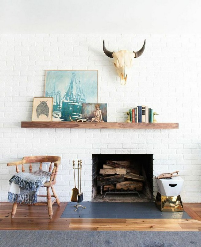 18 Popular Rustic Painted Brick Fireplaces Ideas 11