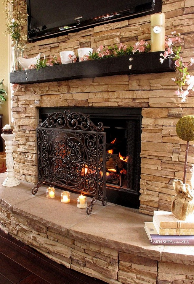 18 Popular Rustic Painted Brick Fireplaces Ideas 19